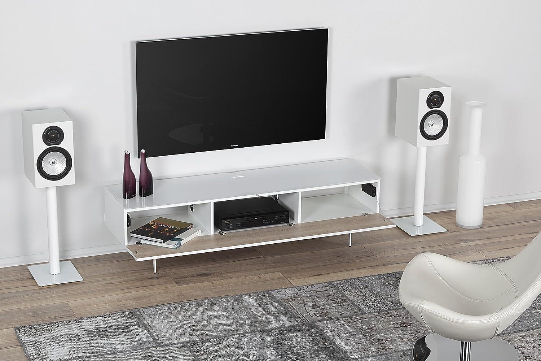 SONOROUS Studio ST-360 - Soporte de madera y cristal para televisor con patas metálicas para tamaños de hasta 75 pulgadas (armario de diseño moderno para sus componentes y consolas de audio/vídeo, viene