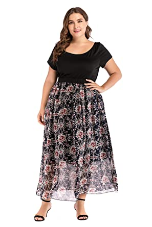 08acb7fde33 GMHO Women s Plus Size O Neck Short Sleeve Cocktail Formal Maxi Dress (Red  Print