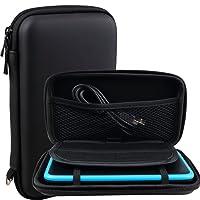 Exlene® Nintendo 2DS XL Tasche Schutz-Hülle EVA Hard Reise Schutzhülle + 3M usb-aufladungskabel,für Nintendo 2DS XL/ 3DS/ 3DS XL,Mit 8 Spielkassettenhaltern (Schwarz)