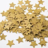 MOWO Glitter Five Stars Paper Confetti, Wedding Party Decor and Table Decor, 1.2'' in Diameter (glitter gold,200pc)