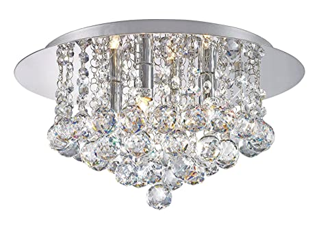 Modern elegant round chandelier ceiling light crystal droplets modern elegant round chandelier ceiling light crystal droplets simply stunning effect mozeypictures Image collections