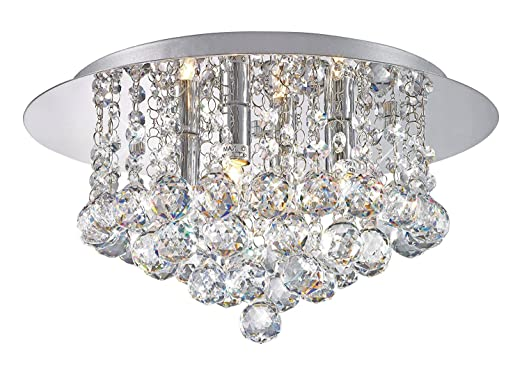Modern Elegant Round Chandelier Ceiling Light Crystal Droplets Simply Stunning Effect by Long Life Lamp Company