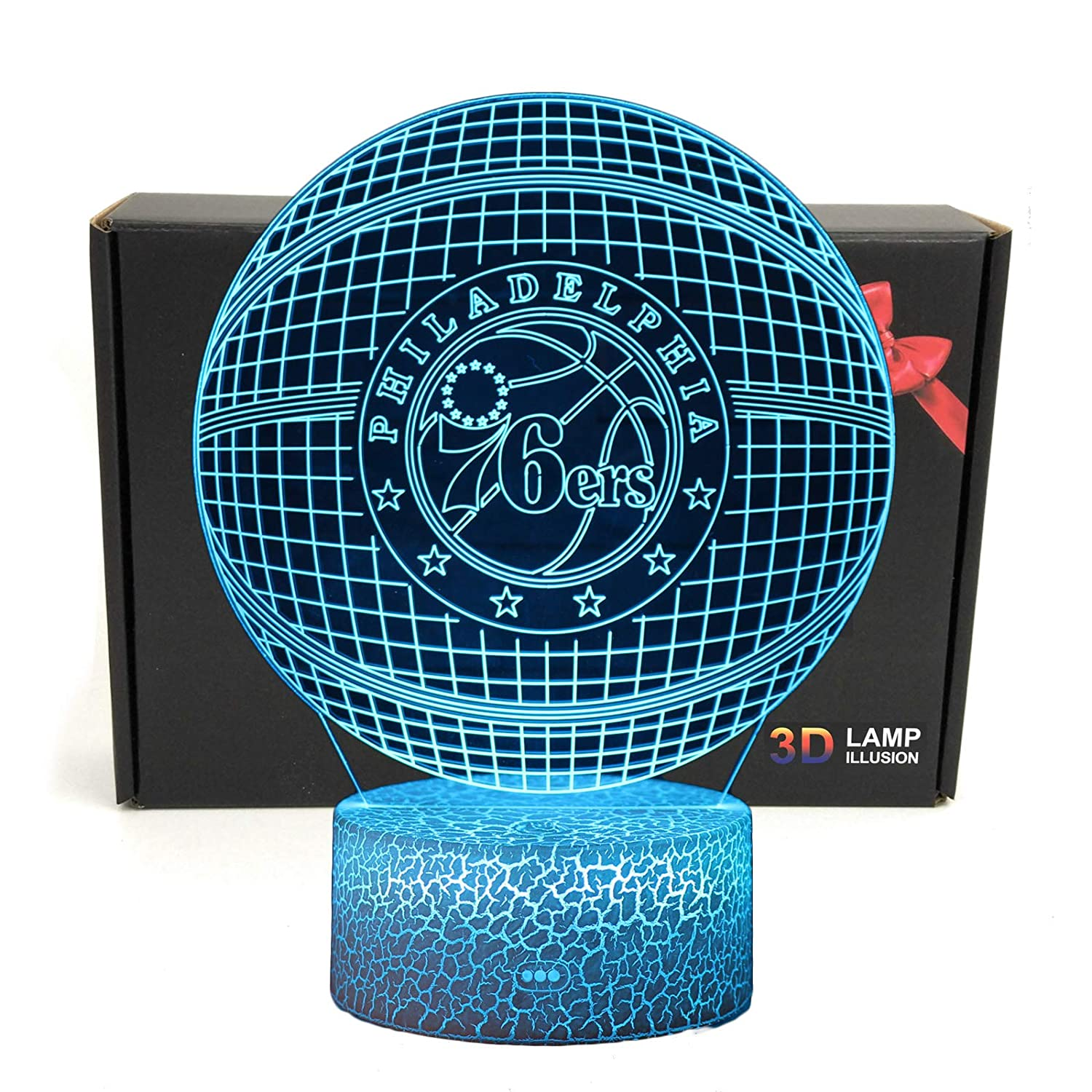 Deal Best LED NBA Team 3D Optical Illusion Smart 7 Colors Night Light Table Lamp with USB Power Cable 76ERS