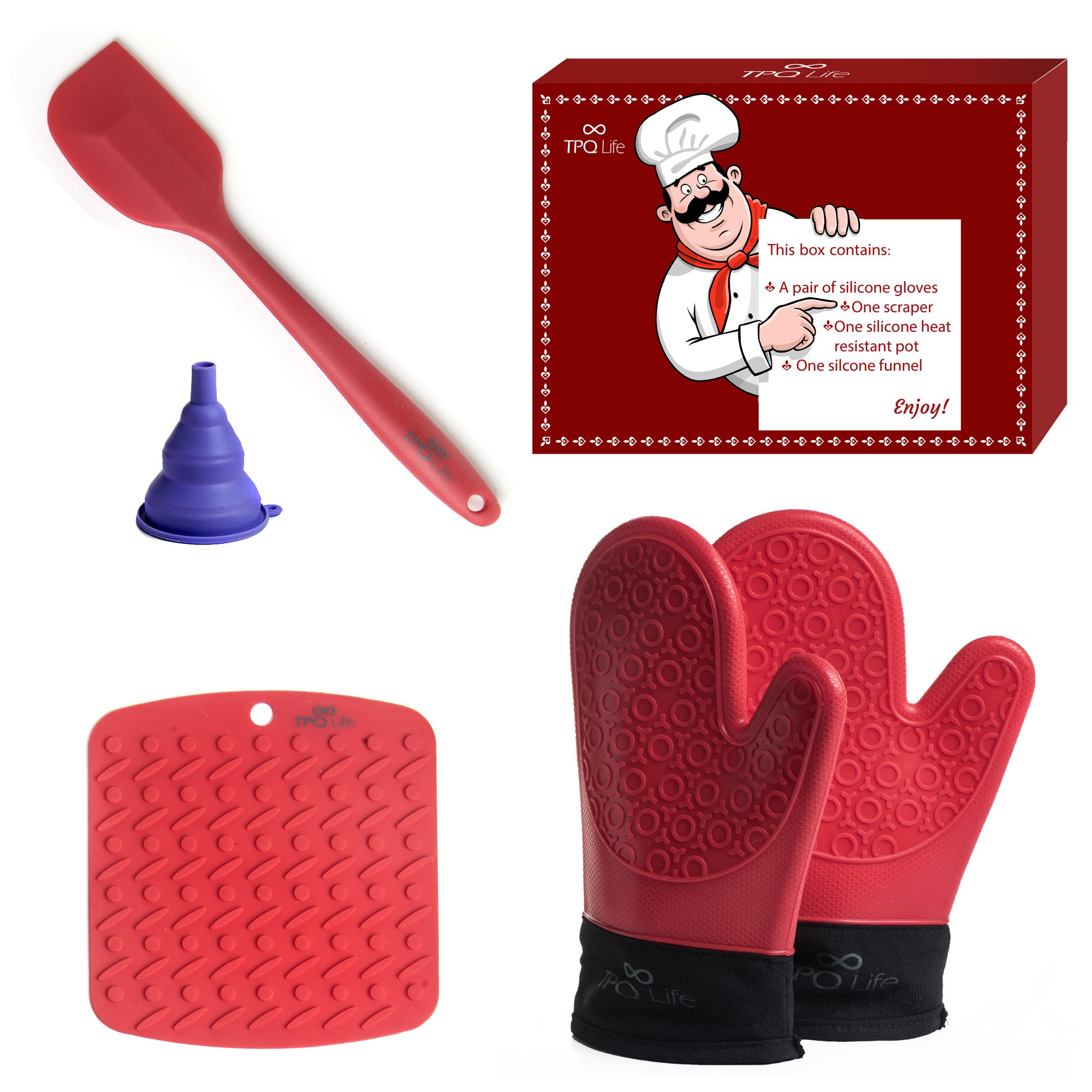 Silicone Oven gloves Pair, Placemat & Spatula Set - 5 Piece Kitchen Ensemble - Top Quality Heat Resistant Non-Slip Oven gloves, Table/Trivet Mat & Scraper (Red) - BONUS Silicone Funnel by TPQ Life