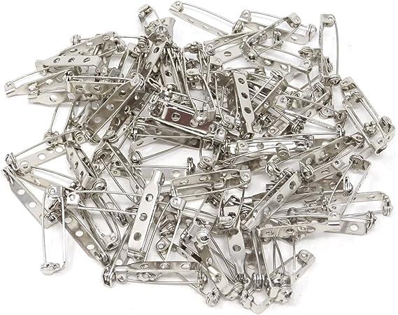 Honbay 100PCS Silver Tone Pin Backs Safety Pins Brooch Pins Bar Pins for Crafts 32MM