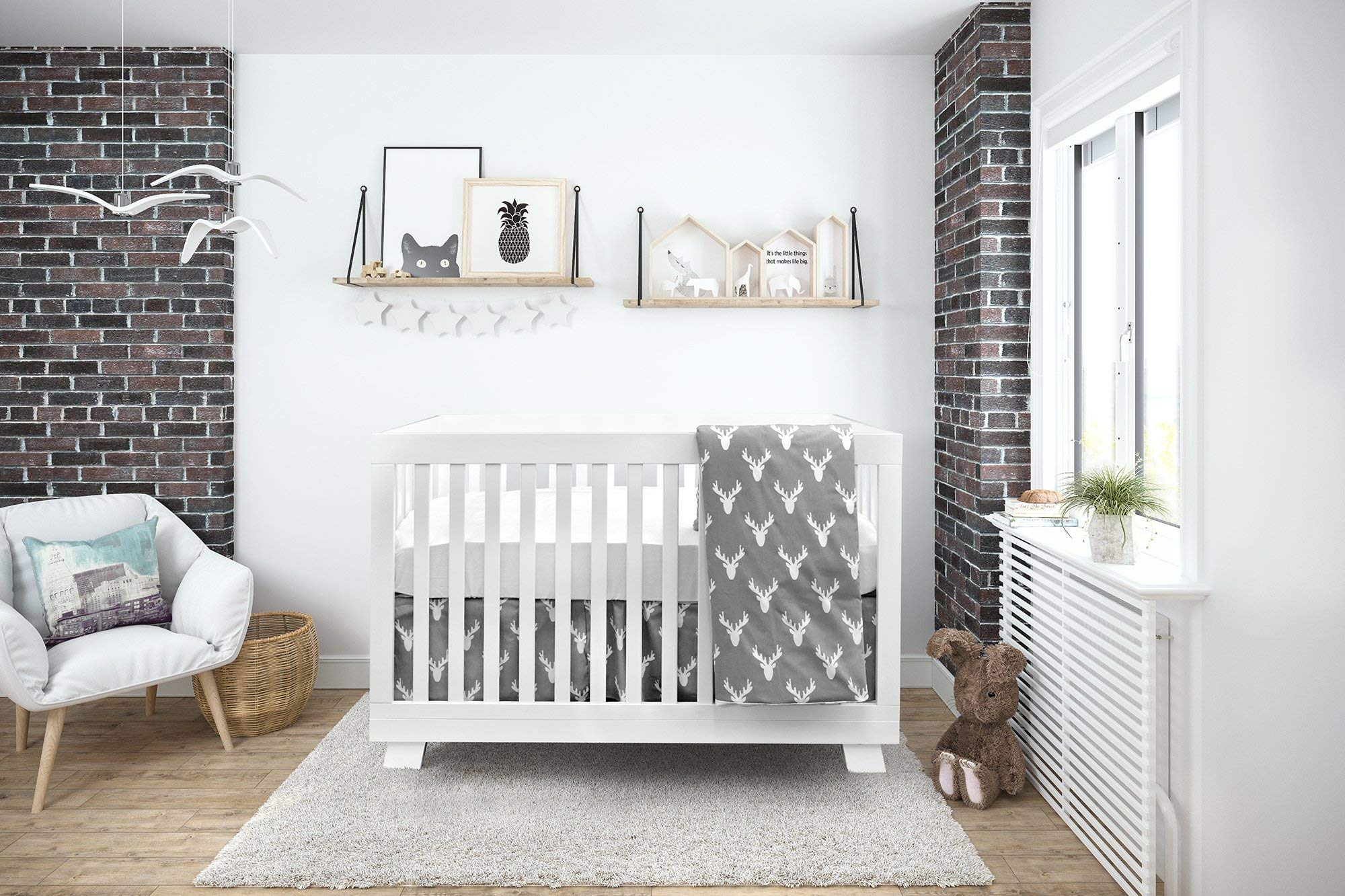 Boobeyeh Baby Crib Bedding for Girls and Boys, Gray and White Moose Design, 4-Piece Set Includes Fitted Sheet, Crib Comforter, Comforter Cover, Skirt