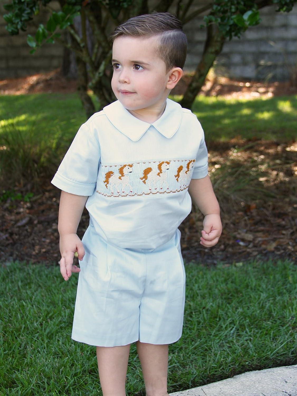 Carouselwear Boys Shirt Shorts Set Suit with Hand Smocked Horses