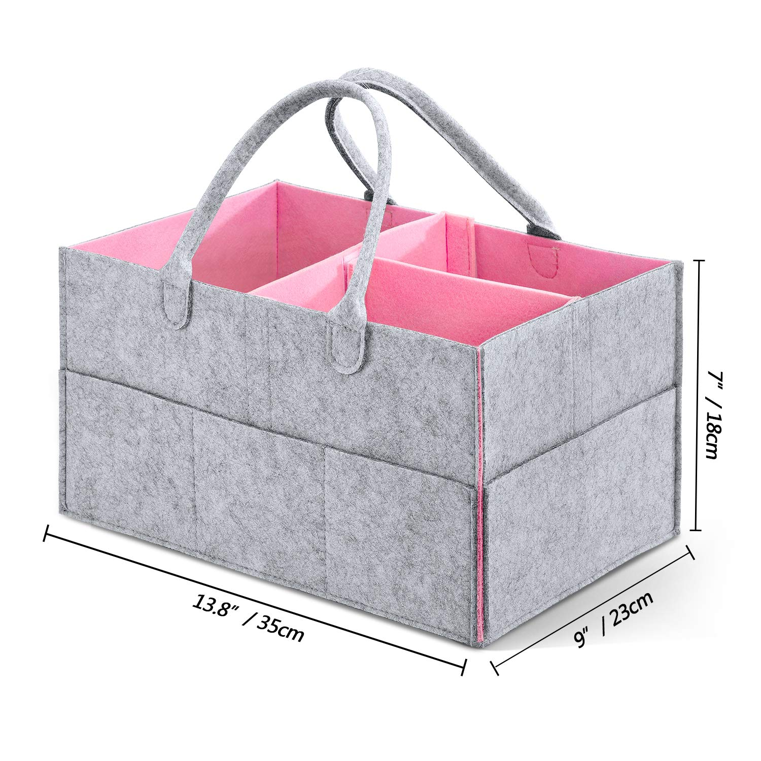 Baby Diaper Caddy,HBlife Nursery Storage Bin Portable Diaper Storage Caddy with Changeable Compartments Pink