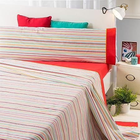 Sancarlos- Juego de sábanas RIGA, Algodón-poliéster, Color Coral ...