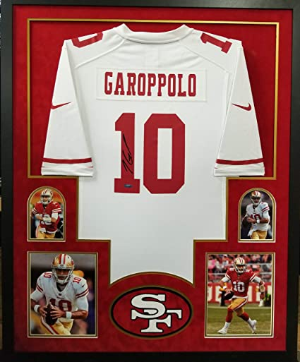 e021d7926 Image Unavailable. Image not available for. Color  Jimmy Garoppolo San  Francisco 49ers Autograph Signed Custom Framed Nike Jersey White ...