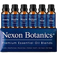 Essential Oil Blends Set 10 ml Each - Made In the USA - Great Blends for Aromatherapy and Diffuser - Perfect Gift - Anxiety, Breathe Ease, Muscle Ease, Robbers' Health, Zen Head, Sleep