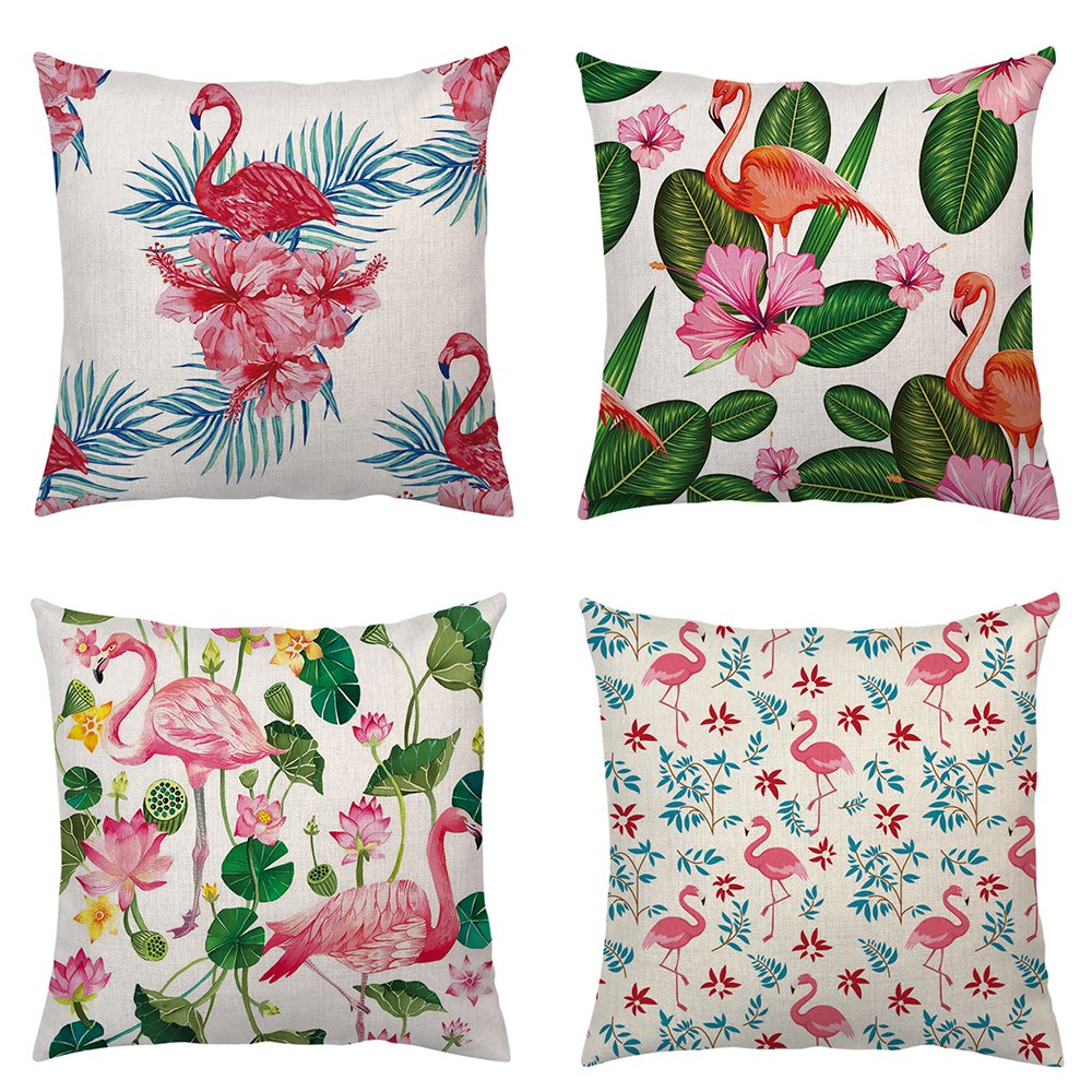 Shenermay Home Decorative Flamingo Throw Pillow Covers Pink Watercolor Tropical Flower Leaves Square Bedroom Waist Cushion Cover Linen Sofa Couch Car Pillow Case 18''X18'' 4 pack
