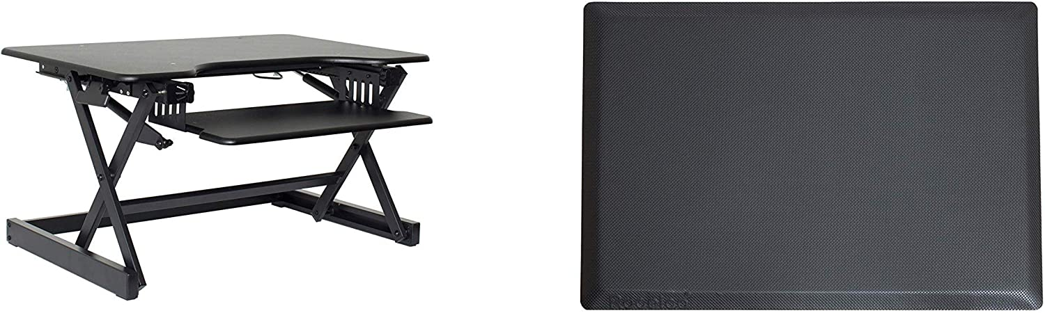 """Rocelco 32"""" Height Adjustable Desk Converter Bundle, Sit Stand Computer Workstation Riser with Anti Fatigue Mat, Dual Monitor Retractable Keyboard Tray Gas Spring, (R EADRB-MAFM), Black"""
