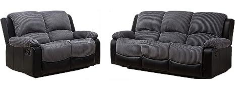 New Marsha Fabric Reclining Sofa Set Black And Grey 3 2 Amazon Co