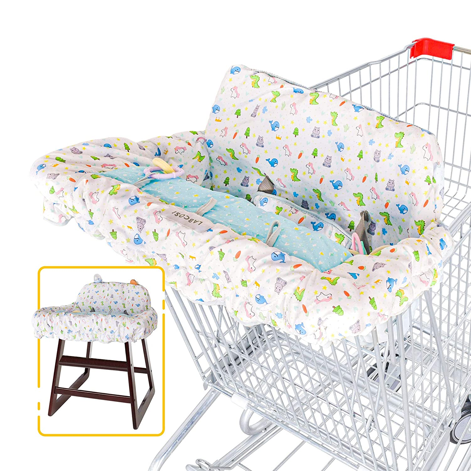 Labcosi Shopping Cart Cover and High Chair Cover for Baby and Toddler, Grocery Cart Cushion Cover with Safety Harness
