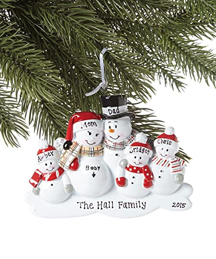 Amazon.com: Family of 5 We're Expecting Snowmen Personalized ...