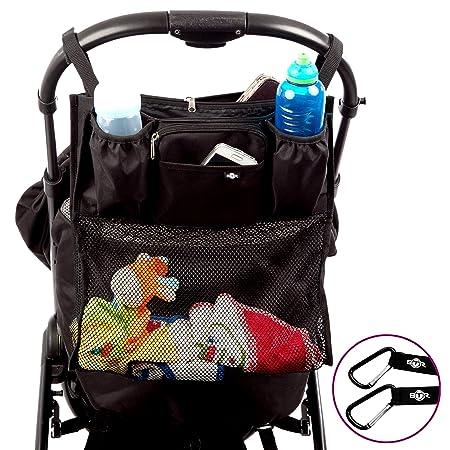 Organizador extraplano para cochecito o silla de paseo de BTR, con red para tus compras. Ajuste universal e impermeable CON 2 ganchos para cochecito ...