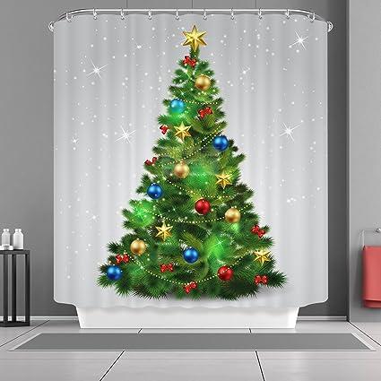 VANCAR Christmas Shower Curtain Sparkling Tree Ornaments Balls Happy New Year Xmas Merry Bath