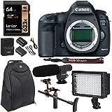 Canon 5D Mark III 22.3MP Full Frame CMOS 1080p HD Video Mode Digital SLR Camera Body, Polaroid Chest Stabilizer, Lexar 64GB SDXC, LED Lighting, Condenser Microphone, Polaroid Battery & Accessory Kit