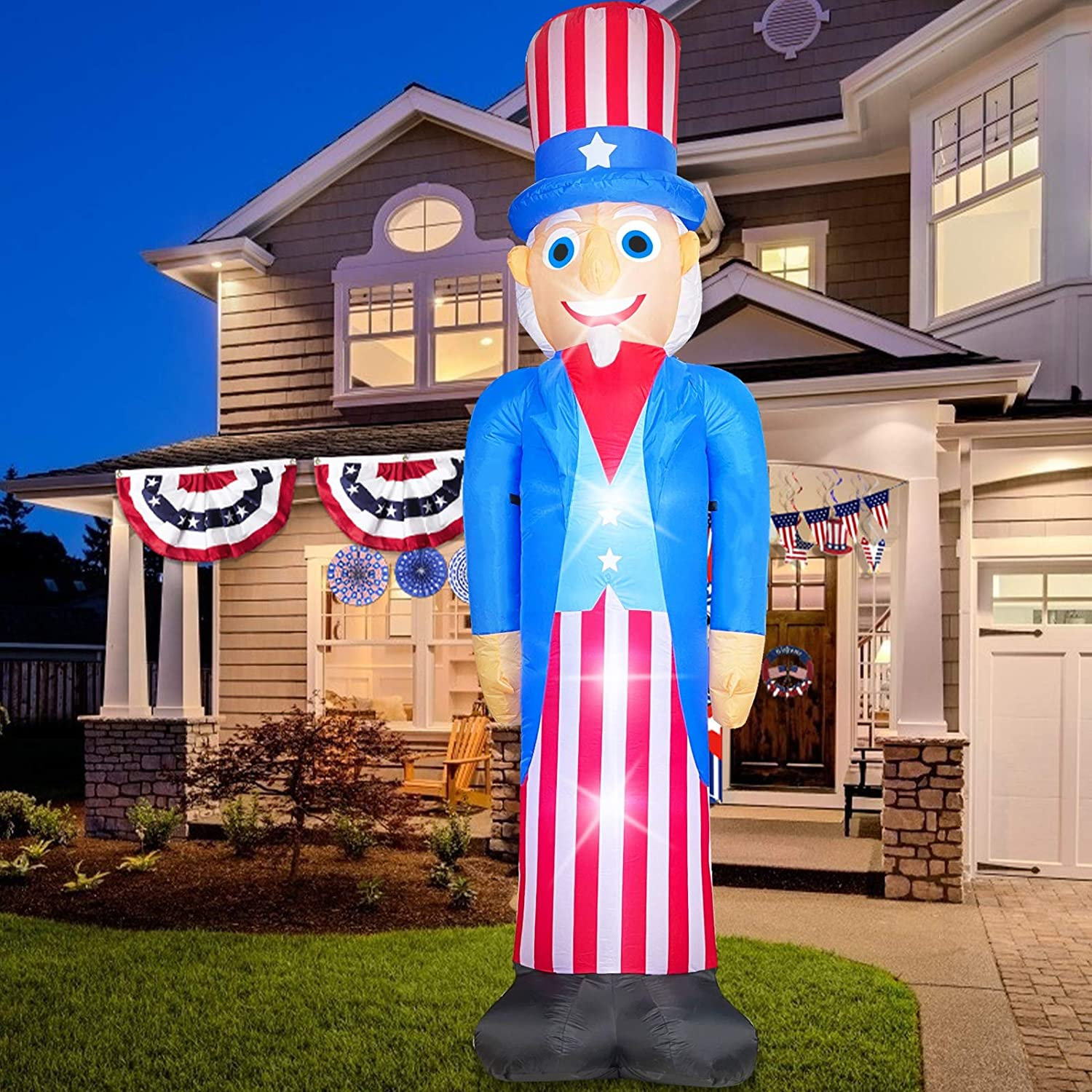 TURNMEON 8 Foot Giant Inflatables Uncle Sam 4th of July Decorations Outdoor Blow up Red White Blue Uncle Sam Light up with Tether Stakes Independence Day Memorial Day Patriotic Decor Home Yard Garden