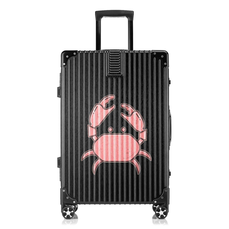 GSHCJ スーツケース 海洋生物のかに キャリーケース 20インチ おしゃれ ブラック Tsaロック搭載 プリント ハード 超軽量 軽い 機内持込 ロックファスナー 旅行 ビジネス 出張 海外 修学旅行 丈夫 便利 レディース メンズ 学生 B07RZ7PJ5K