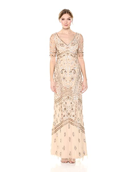 Edwardian Evening Gowns | Victorian Evening Dresses Adrianna Papell Womens Covered Beaded Dress $369.00 AT vintagedancer.com