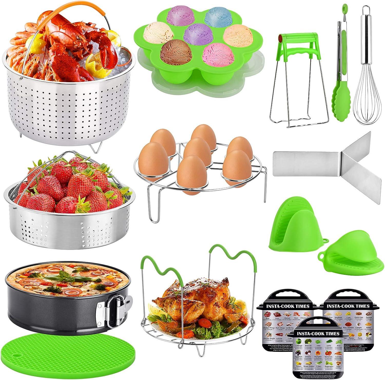 Instant Pot Accessories Set,Pressure Cooker Accessories Compatible with Instant Pot 6,8 Qt - Steamer Basket, Non-stick Spring form Pan, Egg Steamer Rack, Egg Bites Mold (16 PCS)