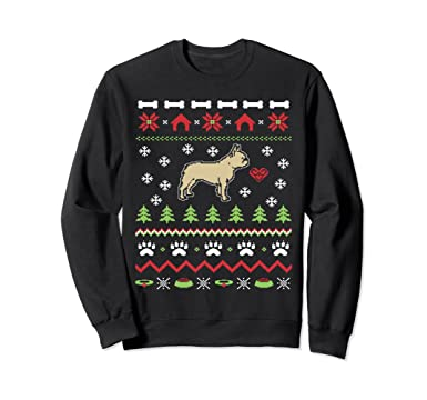 unisex french bulldog dog ugly christmas sweater xmas 2xl black
