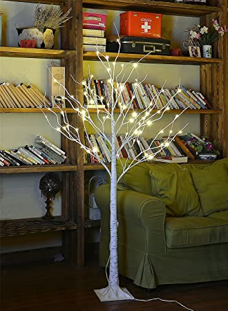 Lightshare 4 Feet Birch Tree, 48 LED Lights, Warm White, For Home,
