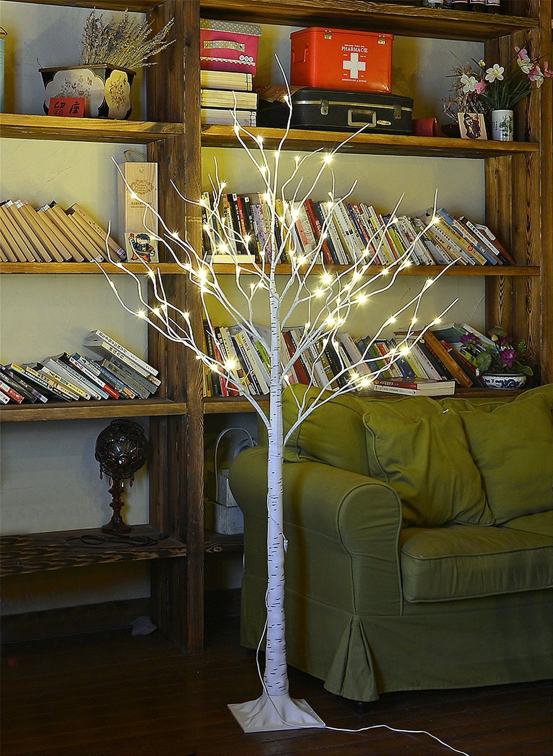 Lightshare 4Ft 48L Led Birch Tree+Free Gift:10L Led Icicle Twinkling(White/Bl.. 14