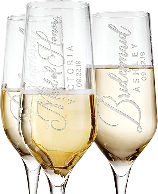 Gift Bachelorette Gift Funny Wine Glass Wedding Party Gifts Dishwasher Safe Etched Stemless Champagne Flute New Bride Engraved Champagne Glass Mother Of The Groom 8.5 oz Bride To Be Gift