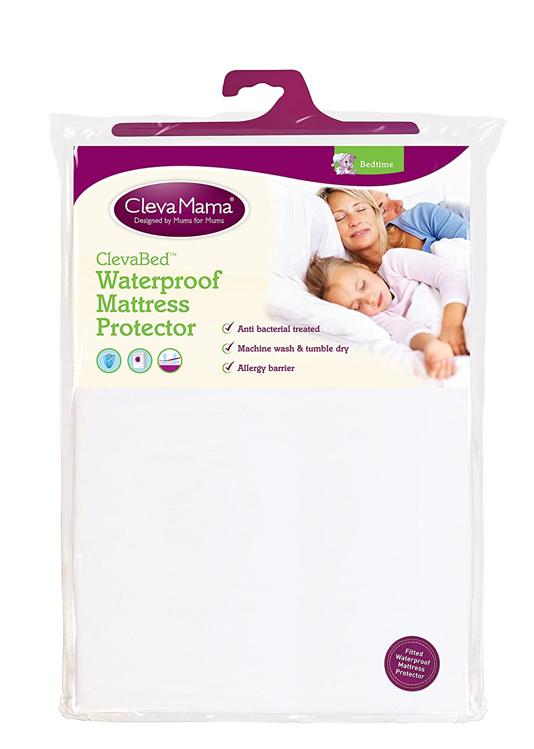 Clevamama Waterproof Fitted Brushed Cotton Mattress Protector Cot Bed, 70x140 cm 7215