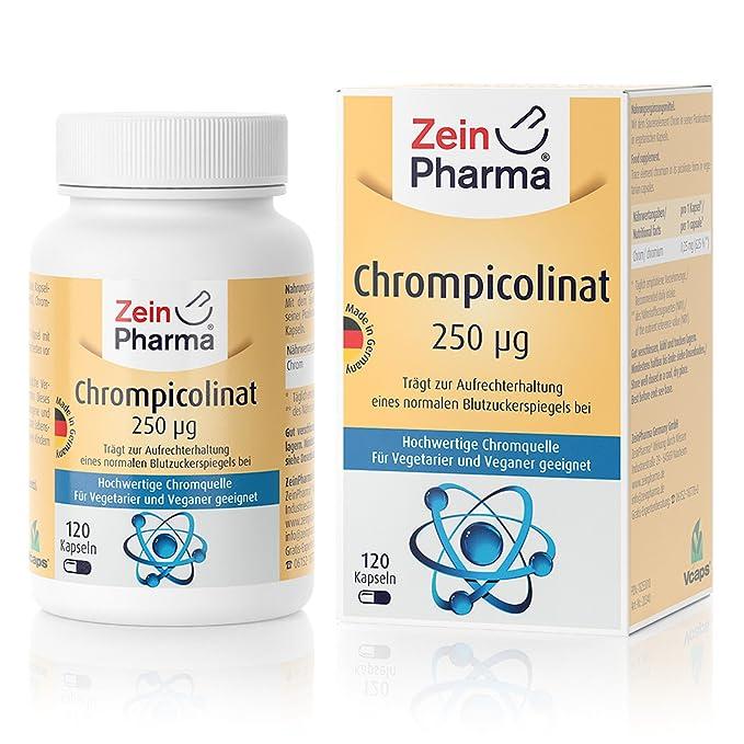 Cápsulas de Picolinato de Cromo 250µg de ZeinPharma • 120 cápsulas (4 meses de suministro) • para un nivel normal de azúcar en la sangre • Hecho en ...