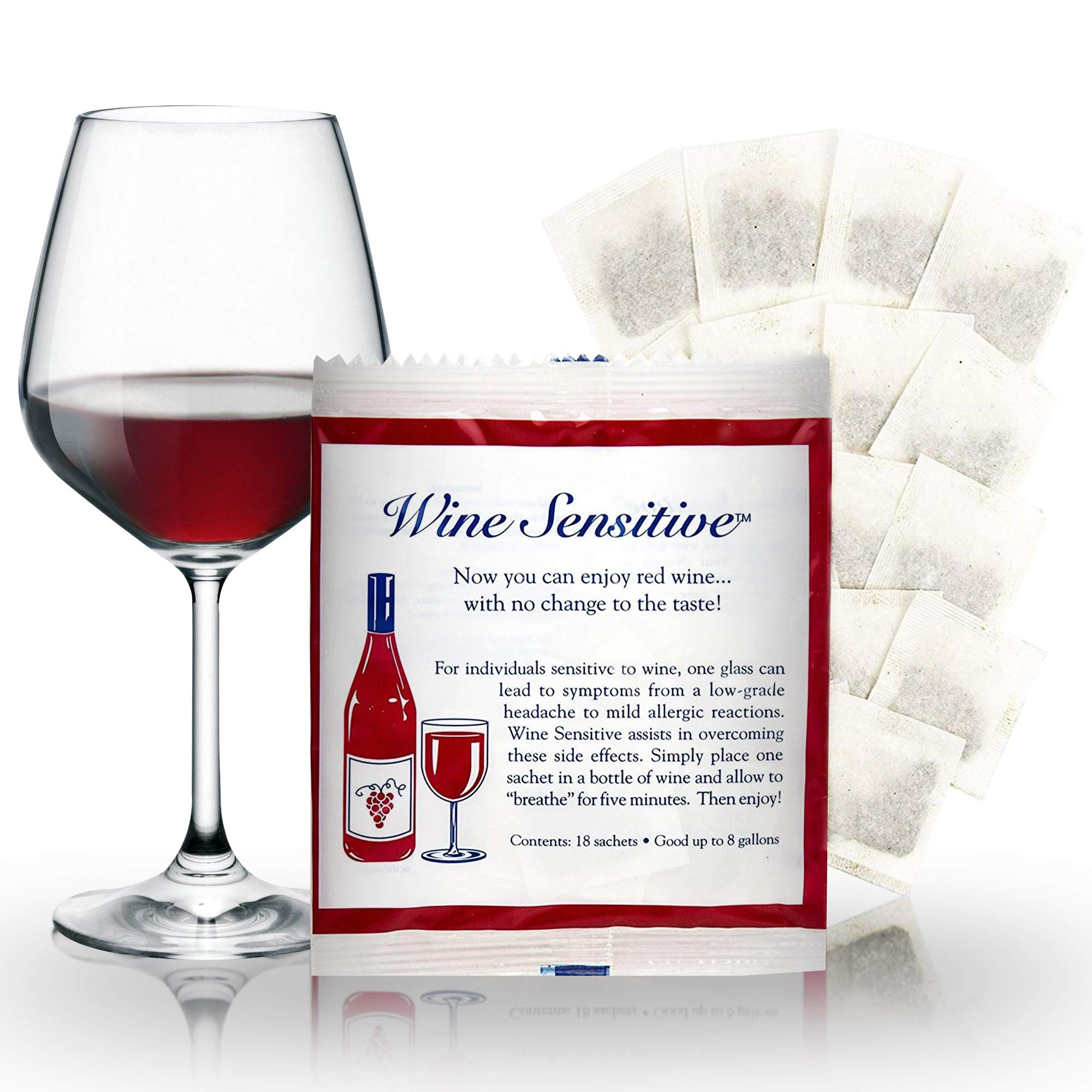 Organic Wine Sulfite Remover Filter Sachets with All Natural Ingredients For Allergy Sensitivity Hangover Prevention Remedies & Wine Filters Stops Red Wine Headaches Nausea IBS by Wine Sensitive