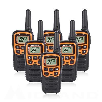 Midland T51VP3 22 Channel FRS Walkie Talkie - Up to 28 Mile Range Two-Way Radio - Orange/Black (Pack of 6) [5Bkhe0815724]