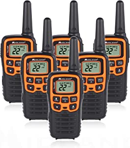 Midland T51VP3 22 Channel FRS Walkie Talkie - Up to 28 Mile Range Two-Way Radio - Orange/Black (Pack of 6)