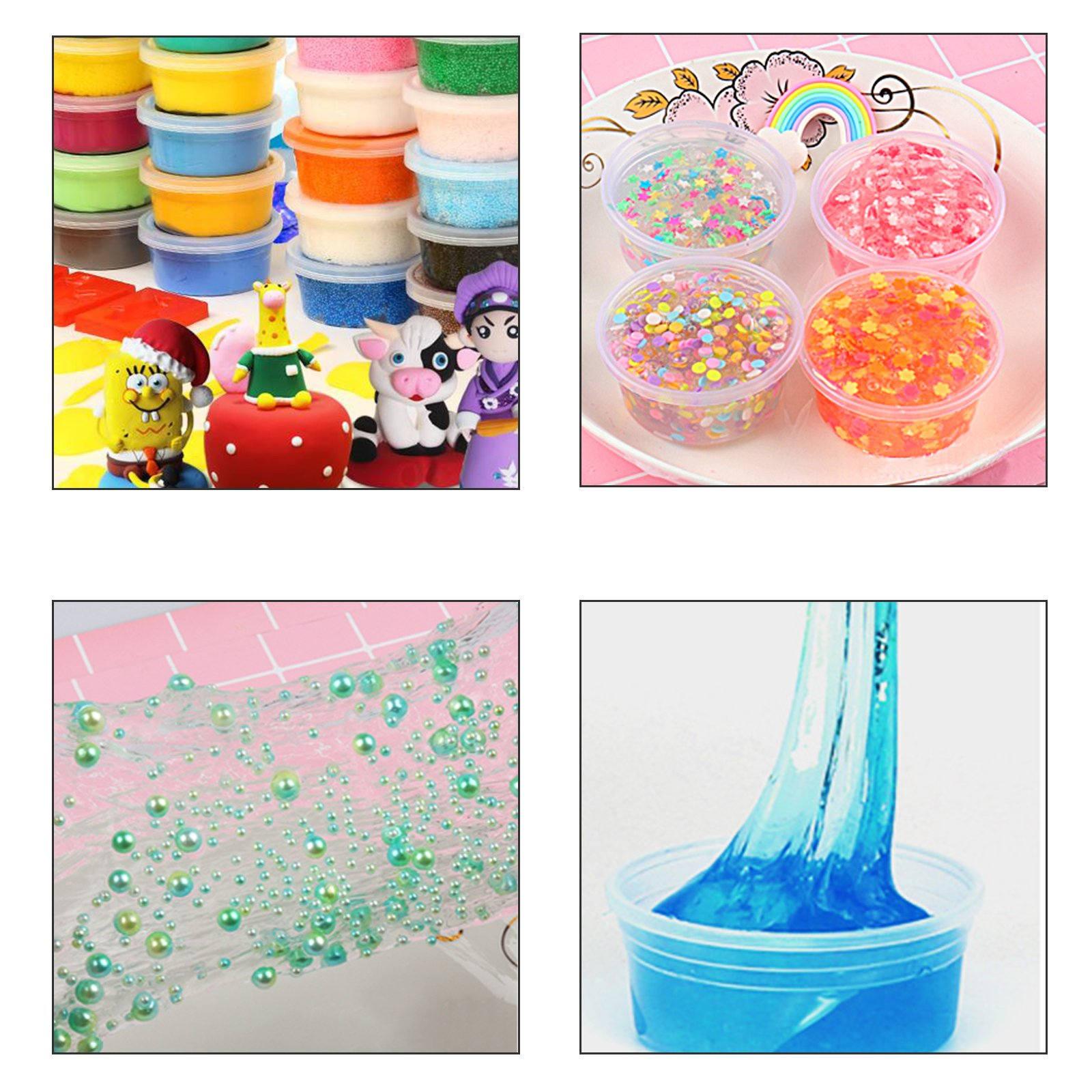 LANMOK Slime Containers, 36 Pack 20g Foam Ball Containers Plastic Storage Jars with Lids,8 Pcs Slime Tools for Art DIY Crafts