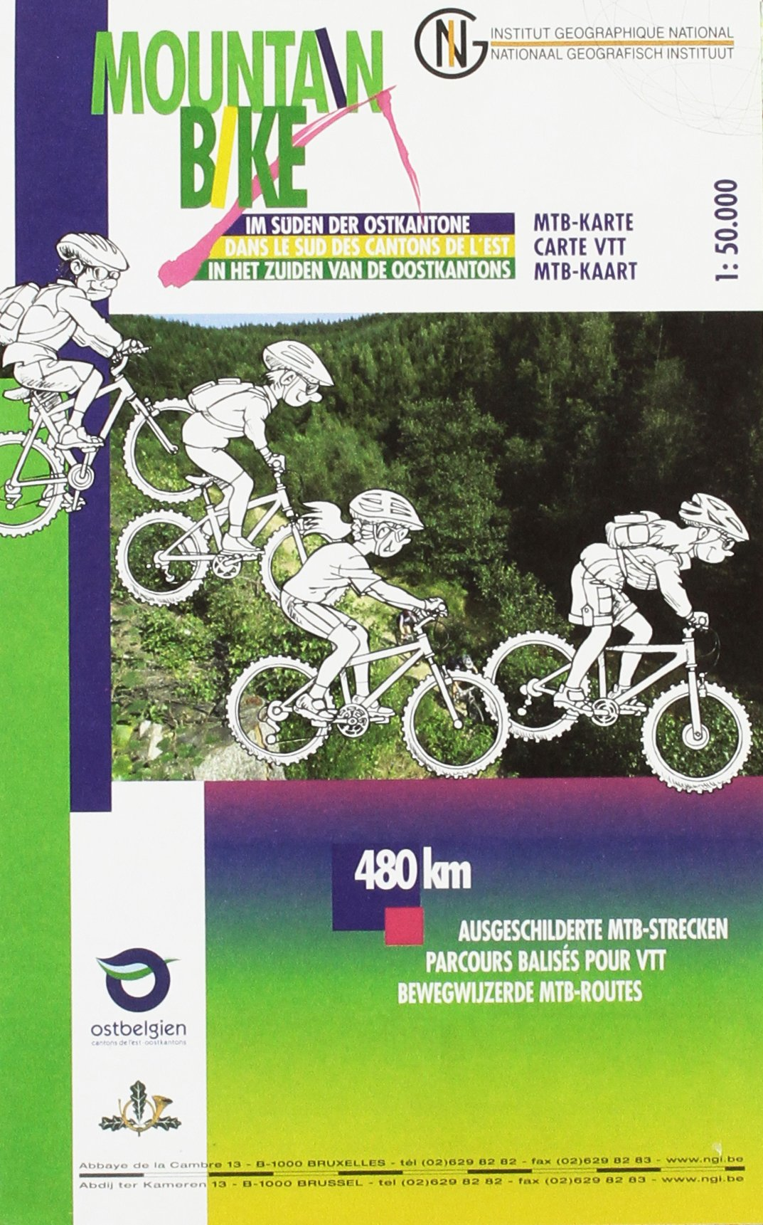 Mountainbike Ostkantone Süd 1 : 50 000 mit MTB / Radrouten (Mehrsprachig) Landkarte – 1. Januar 2014 NGI 9462350515 Karten / Stadtpläne / Europa Belgien