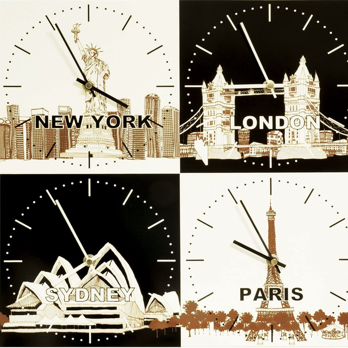 City Time Zone Metal Wall Clock New York London Sydney Paris