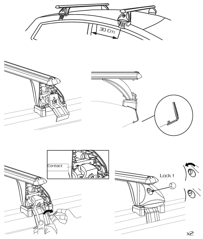 5/portes /à partir de 2017 Aurilis barres de toit dorigine Audi Q2/