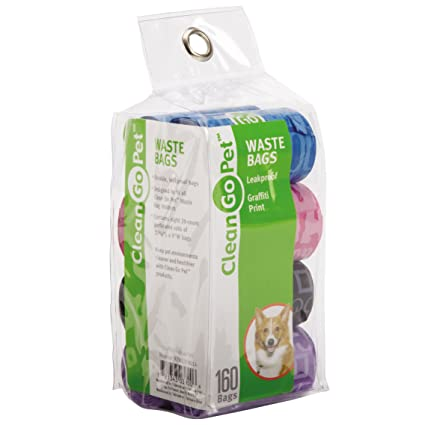 2793a47eb84f Clean Go Pet Dog Waste Bags, Value Pack, 8 Perforated Rolls of 20 Durable  Leakproof Plastic Poop Bags Per Roll