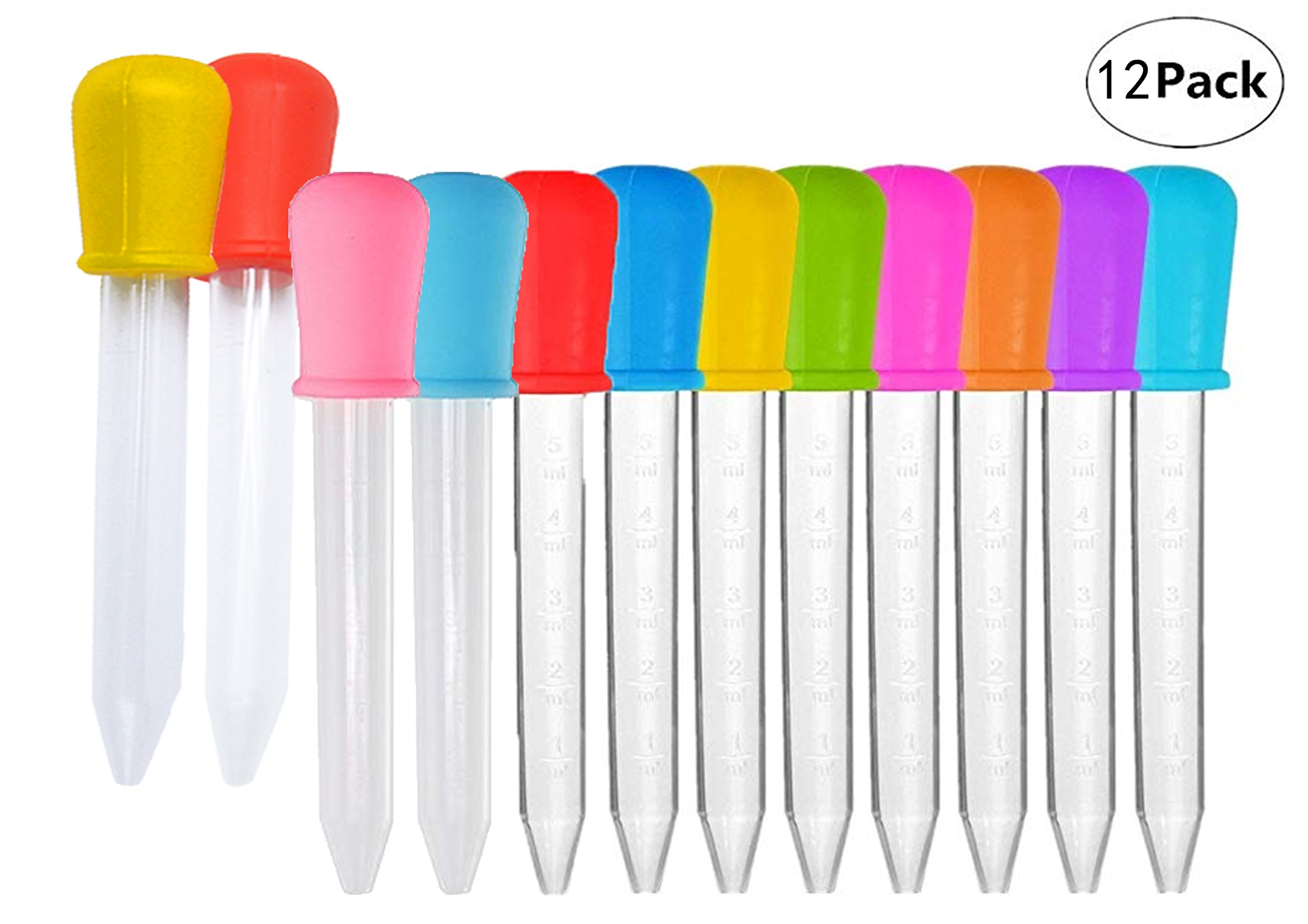 Gorse Liquid Droppers for Kids Silicone and Plastic Pipettes with Bulb Tip 5 ML Eye Dropper for Candy Molds, 8 Colors, 12 Pack