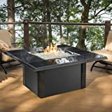 Outdoor Great Room Napa Valley Crystal Fire Pit Table with Black Metal Base, Granite Tiles and Square Burner Burner (Discontinued by Manufacturer)
