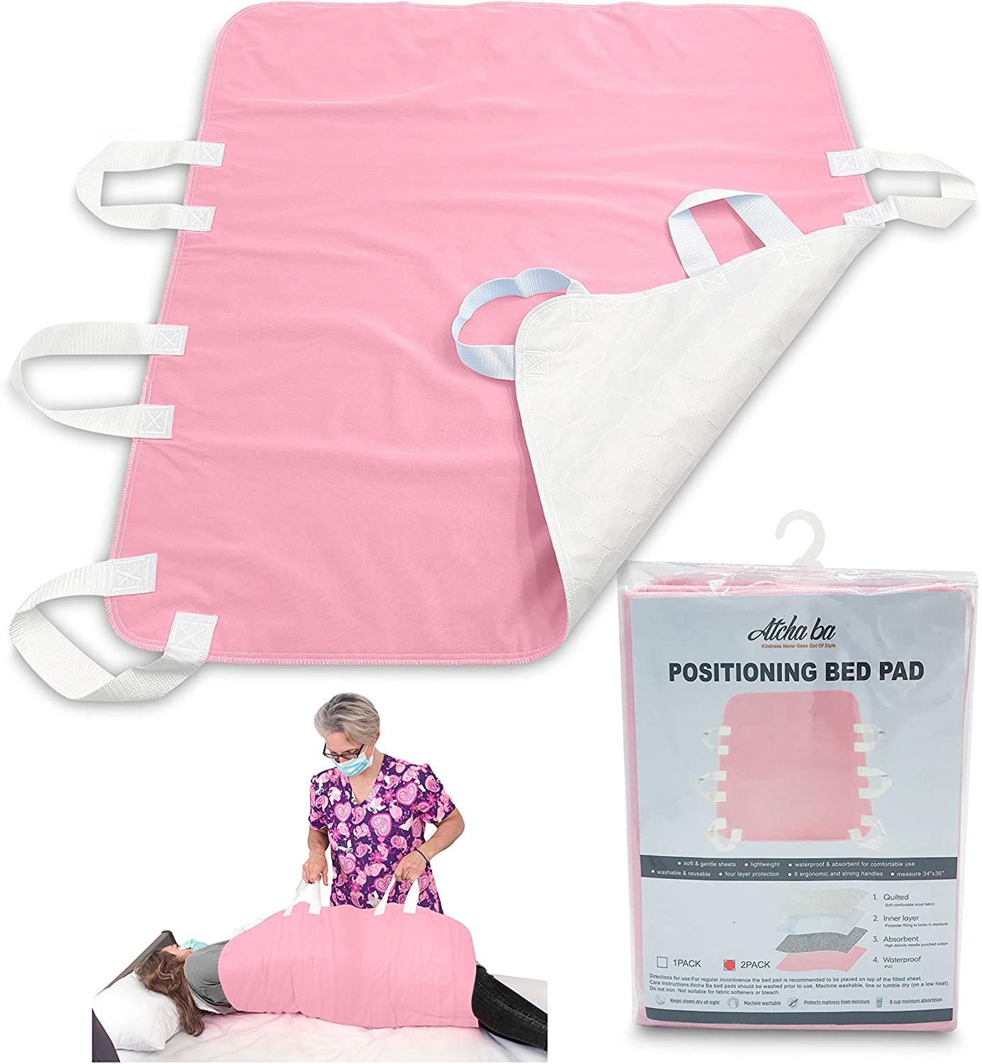 """Atcha Ba Waterproof Positioning Bed Pad with 6 Handles, Reusable Incontinence Underpad, Washable Hospital and Home Care Sliding Sheet, 34"""" x 36"""" (1-Pack Pink)"""