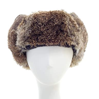 1c0755b4ff4 Image Unavailable. Image not available for. Color  surell Rabbit Fur  Ushanka Trapper Hat ...