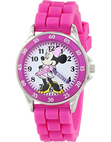 c52177115 Minnie Mouse Kids' Analog Watch with Silver-Tone Casing, Pink Bezel, Pink