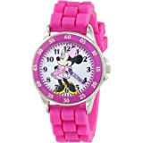 Minnie Mouse Kids' Analog Watch with Silver-Tone Casing, Pink Bezel, Pink Strap - Official Minnie Mouse Character on The Dial