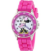 Minnie Mouse Kids' Analog Watch with Silver-Tone Casing, Pink Bezel, Pink Strap - Official Minnie Mouse Character on the…