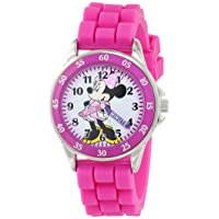 Minnie Mouse Kids' Analog Watch with Silver-Tone Casing, Pink Bezel, Pink Strap - Official Minnie Mouse Character on The Dial, Time-Teacher Watch, Safe for Children - Model: MN1157