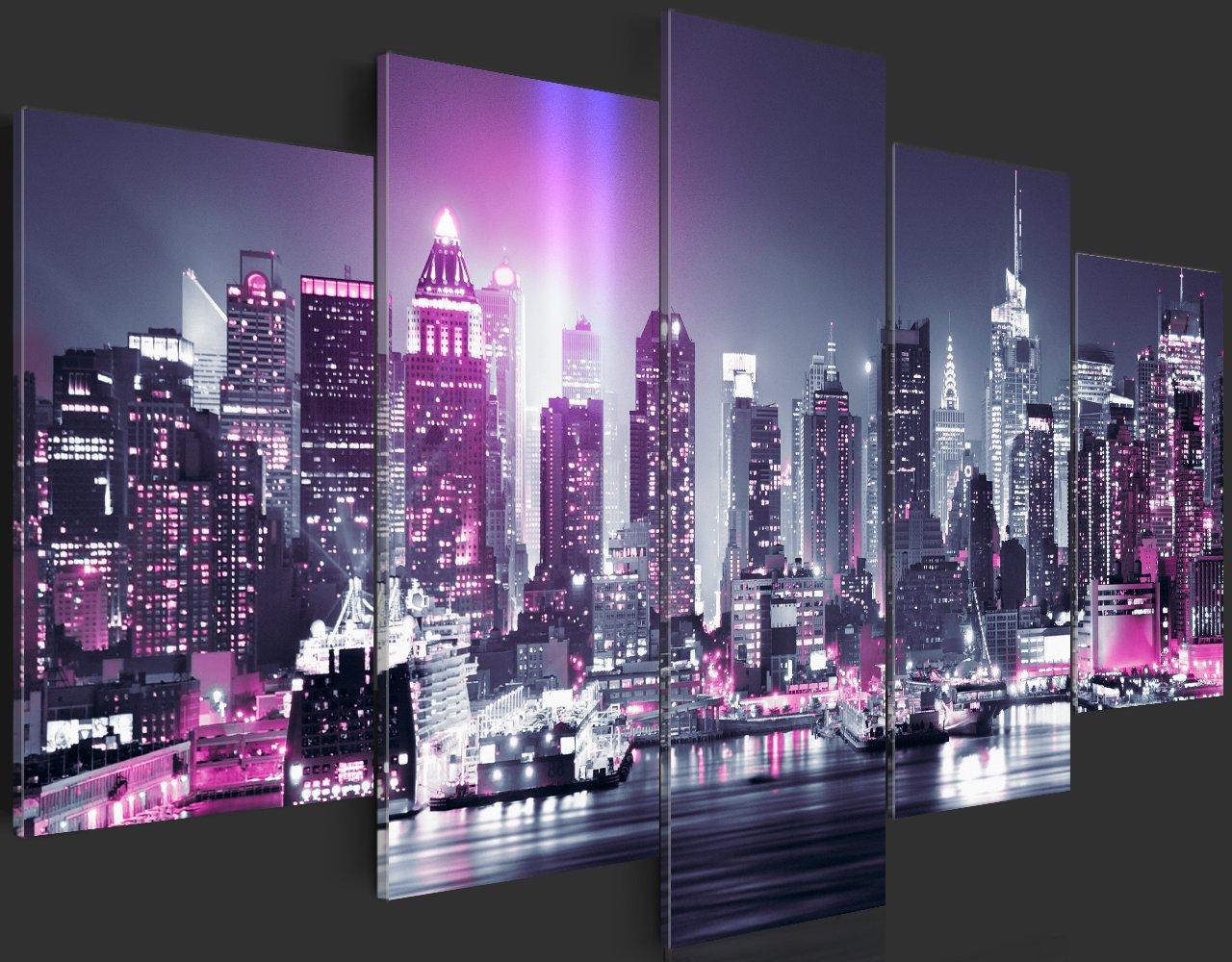 murando Quadro 100x50 cm 5 Pezzi Stampa su Tela in TNT XXL Immagini Moderni Murale Fotografia Grafica Decorazione da Parete Citta New York NY d-C-0015-b-n